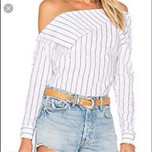 Lovers + friends striped off shoulder blouse